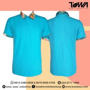 baju poloshirt kombinasi batik bahan lacoste cotton turkis